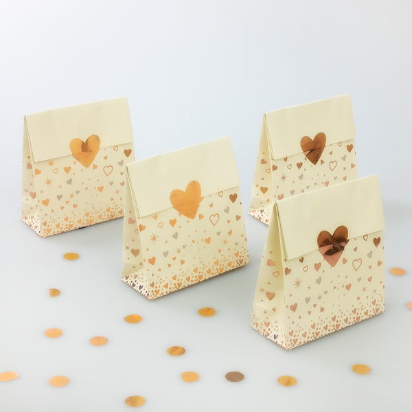 Rose Gold Heart Treat Bags - 8 Pack