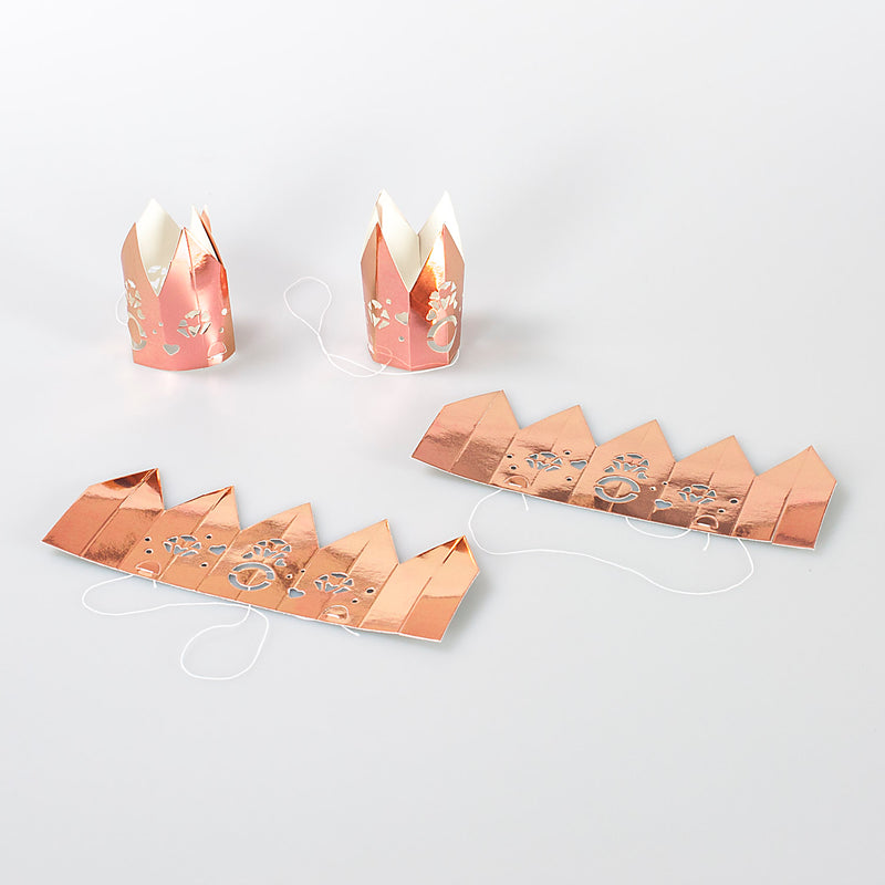 Rose Gold Heart Miniature Crown Hen Party Hats