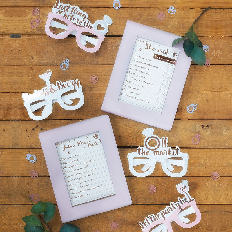Rose Gold Foiled Hen Party Games Pack