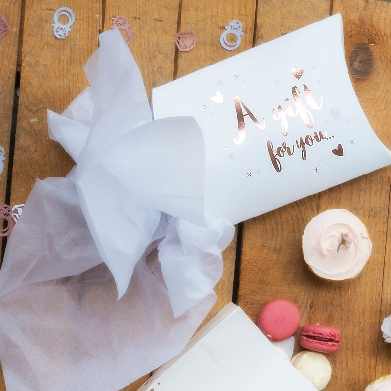 Rose Gold Pillow Box & Tissue Paper