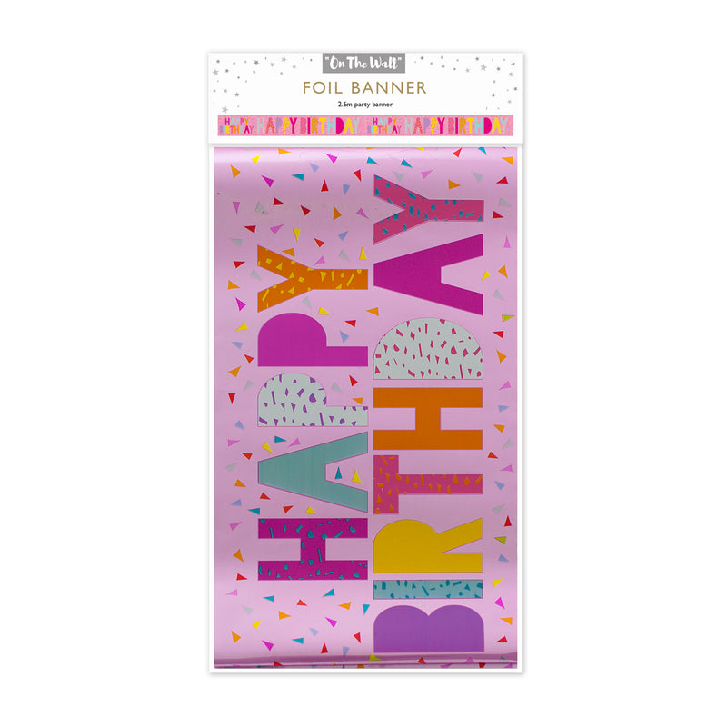 Pink Happy Birthday Foil Banner