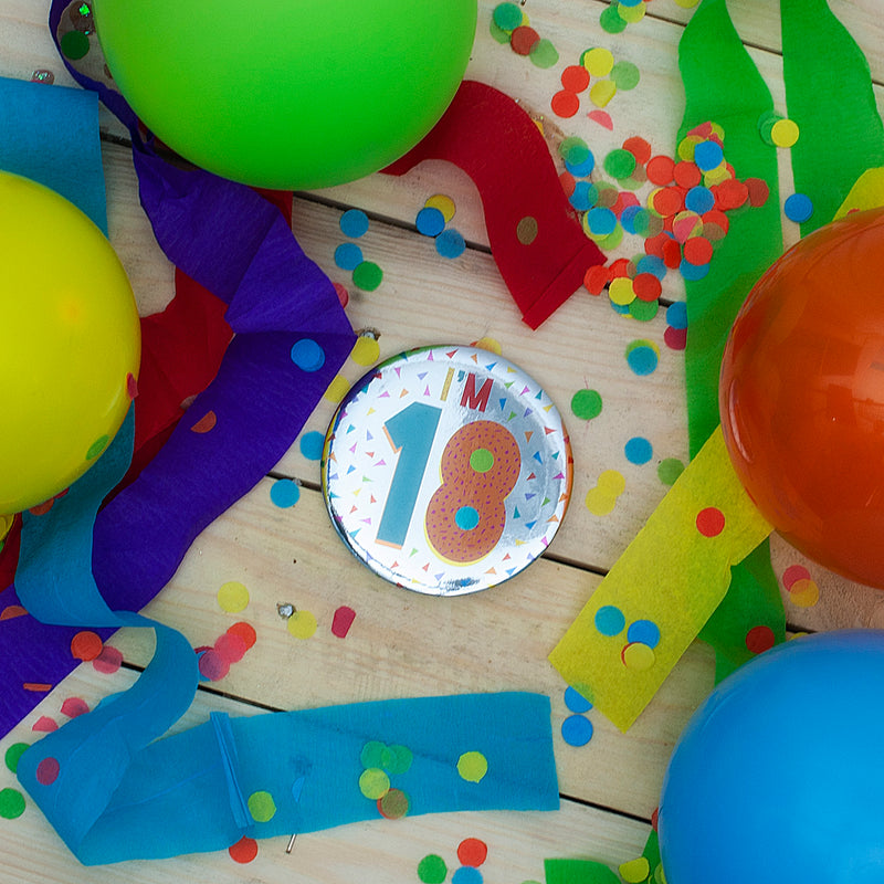 I'm 18 Silver Foil Birthday Badge