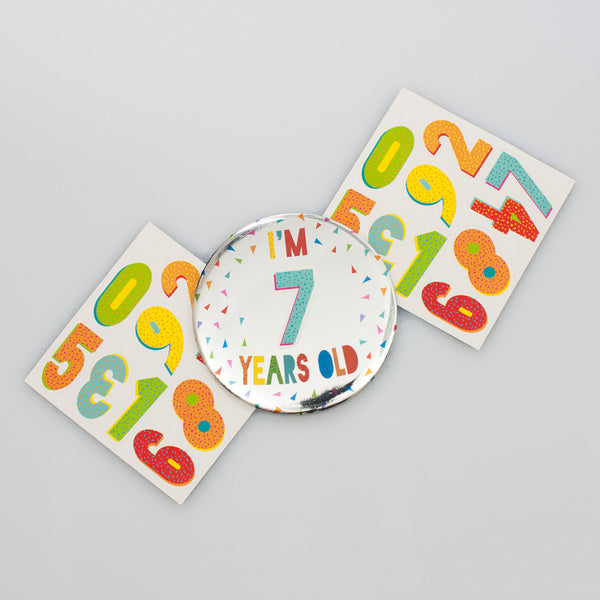 Personalised Silver Foil Birthday Badge