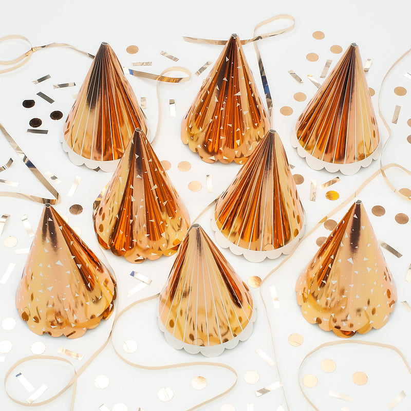 Rose Gold Cone Party Hats with White Details