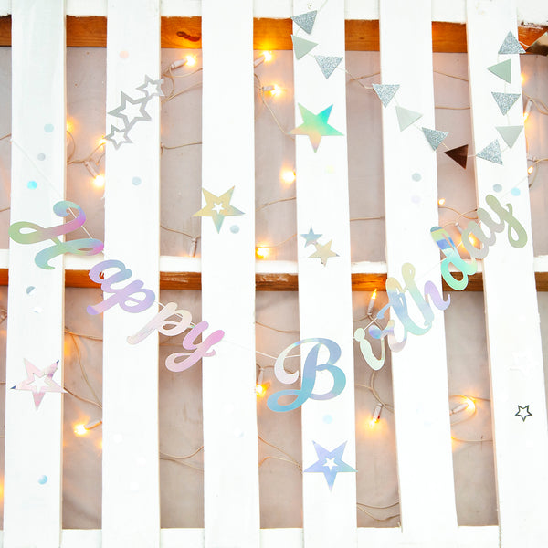 Iridescent Happy Birthday Stitched Garland