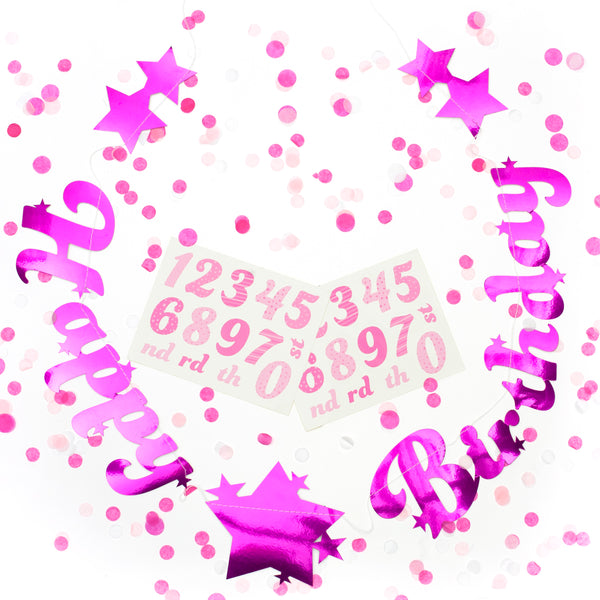 Personalised Age Pink Stitched Garland