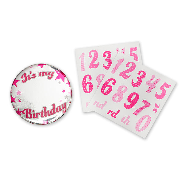 Personalised Pink Foil Badge