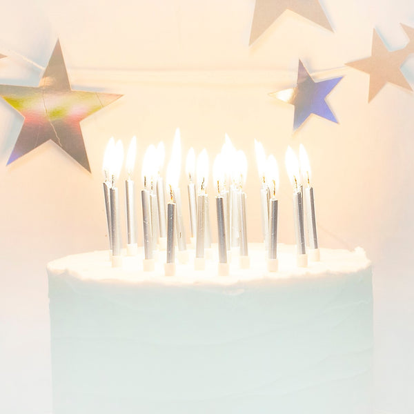 Silver Cake Candles with Holders (24 Pack)