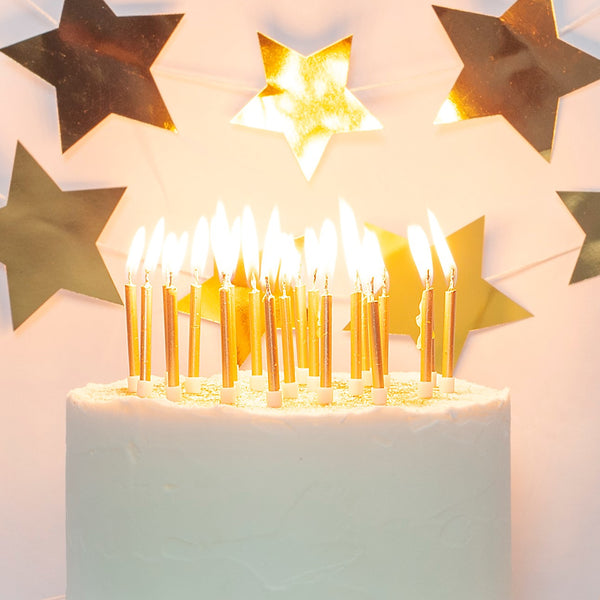 Gold Cake Candles with Holders (24 Pack)