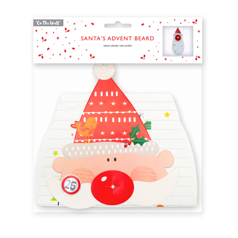 Santa Claus Cut Away Beard Christmas Advent Calendar