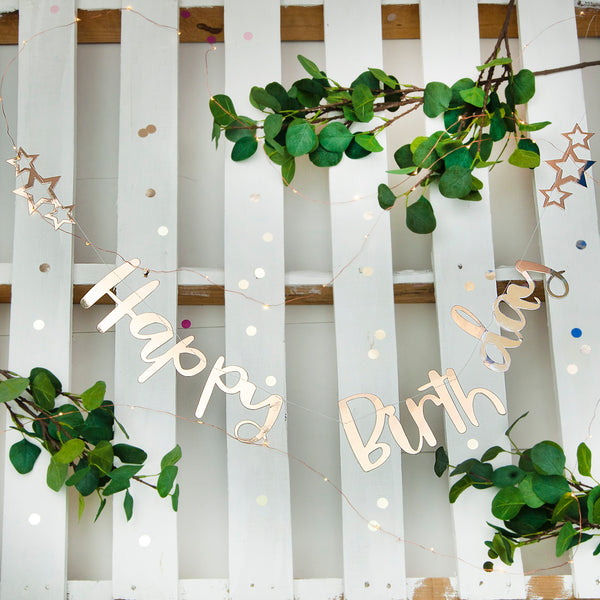 Champagne Gold Happy Birthday Stitched Garland