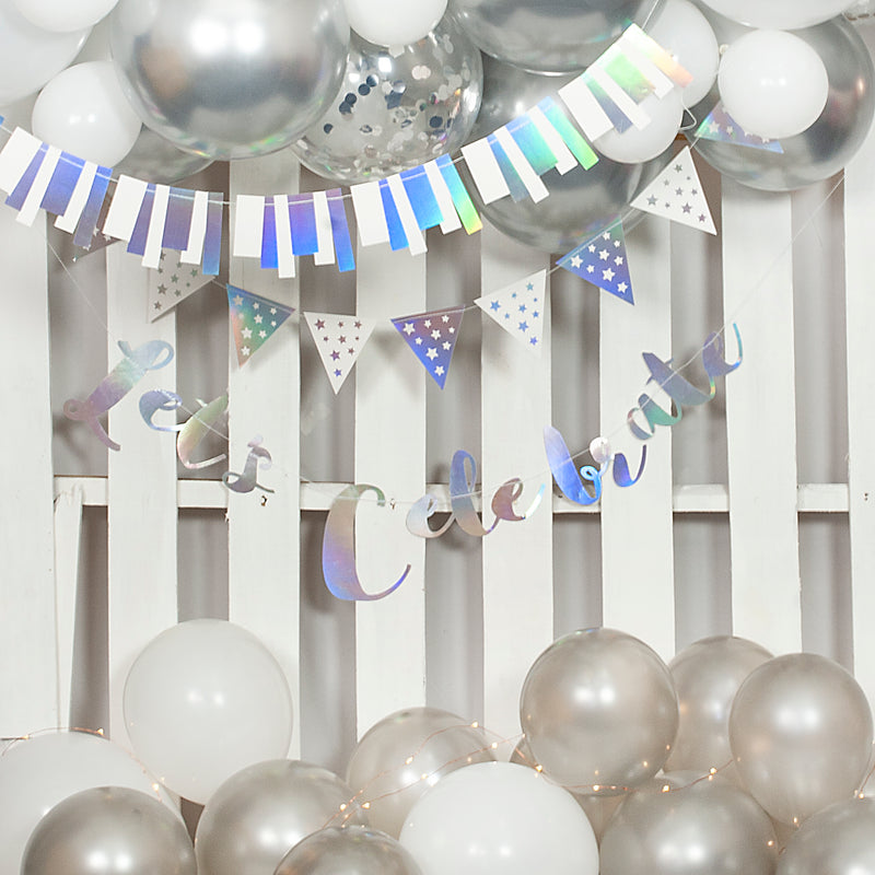 Lets Celebrate Silver Party Kit (Includes Balloon Arch)
