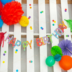 Multicoloured Happy Birthday Stitched Garland with Tassels
