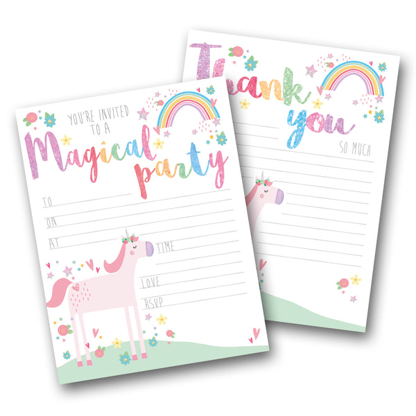 Unicorn Party Invites & Thank You Notes