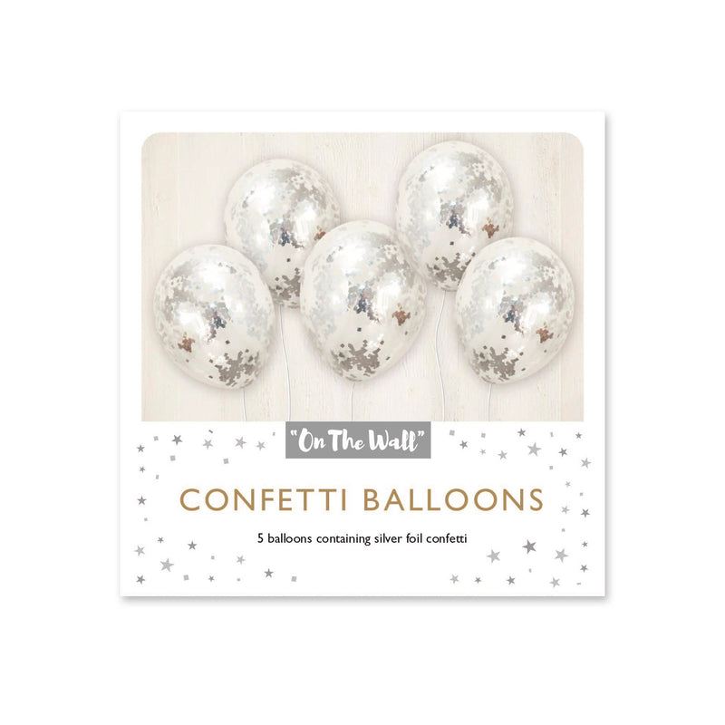 Silver Confetti 12-inch Balloons (5 Pack)