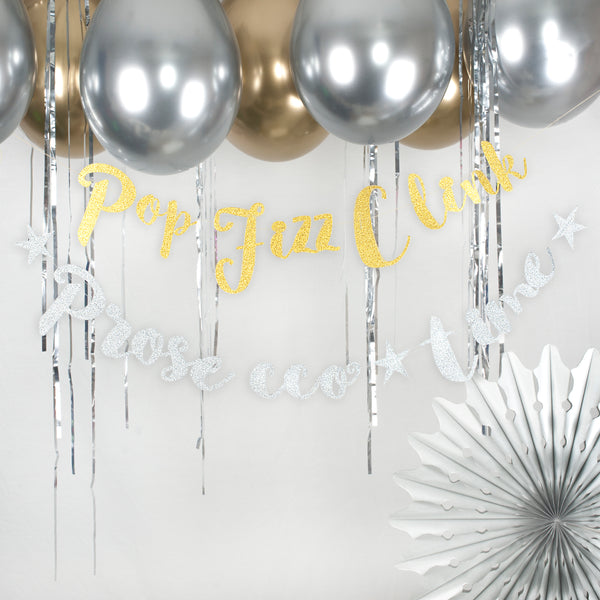 Gold Pop Fizz Clink Stitched Garland