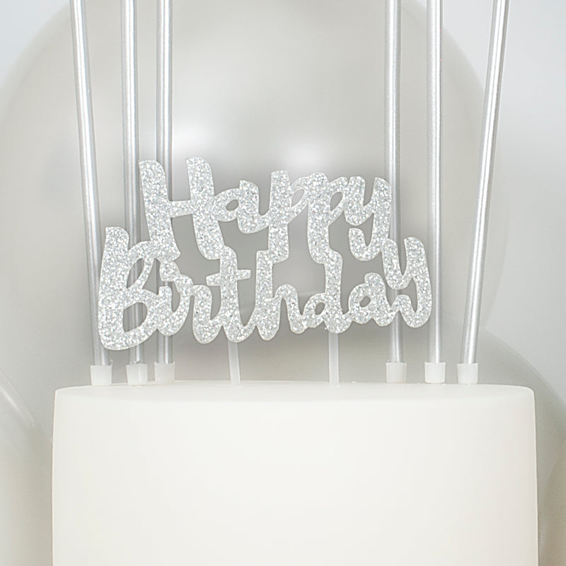 Happy Birthday Silver Glitter Cake Topper