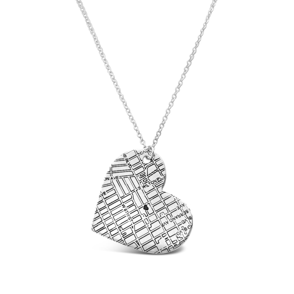 Bakersfield, CA City Map Heart Necklace in Silver