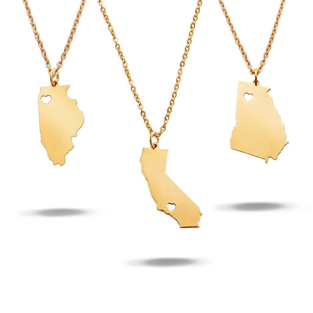 Custom State with Cut out Heart Necklace in Gold Filled