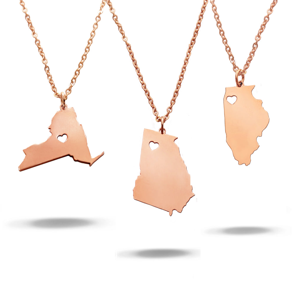 Custom State with Cut out Heart Necklace in Rose Gold Filled
