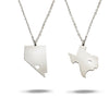 Custom State with Cut out Heart Necklace in Sterling Silver