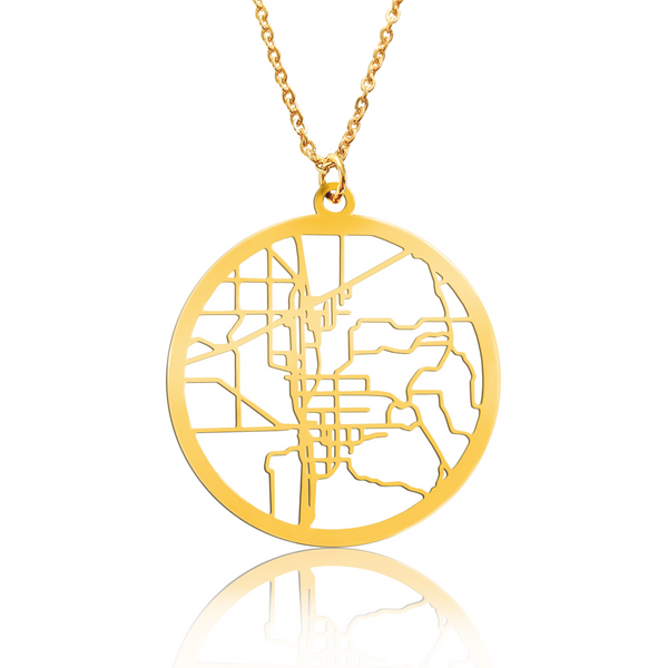 Custom Large Round Pendant Cut Out Map in Gold Filled