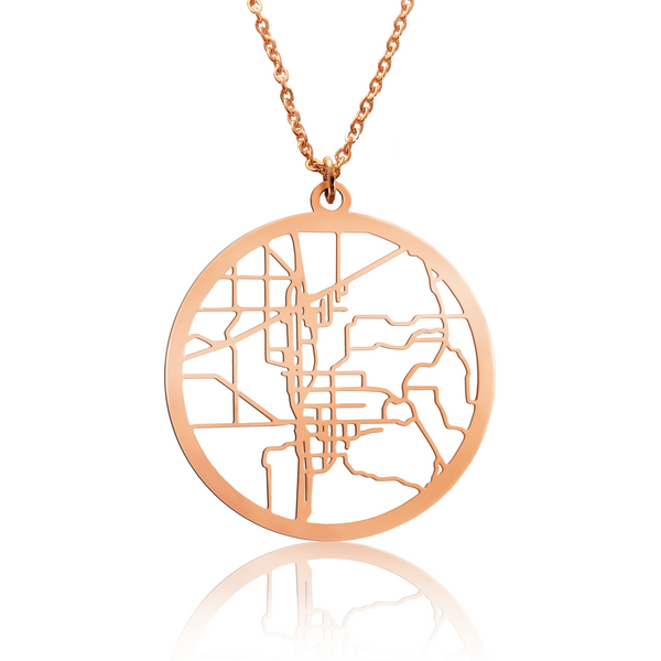 Custom Large Round Pendant Cut Out Map in Rose Gold Filled