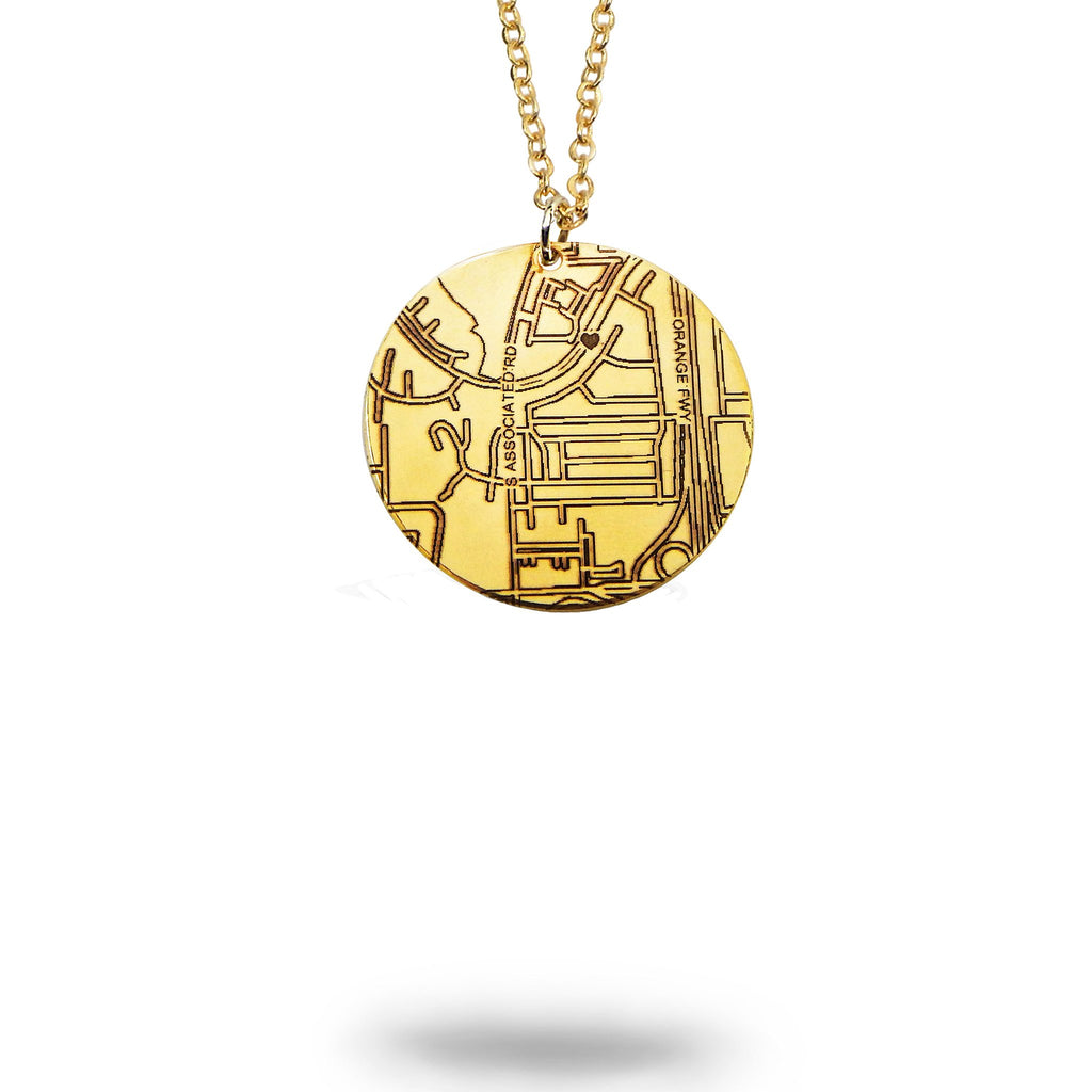 Rowlett, TX City Map Round Necklace in Gold Filled