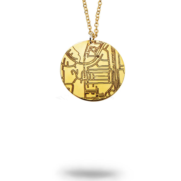 Custom Map Round Necklace in Gold Filled