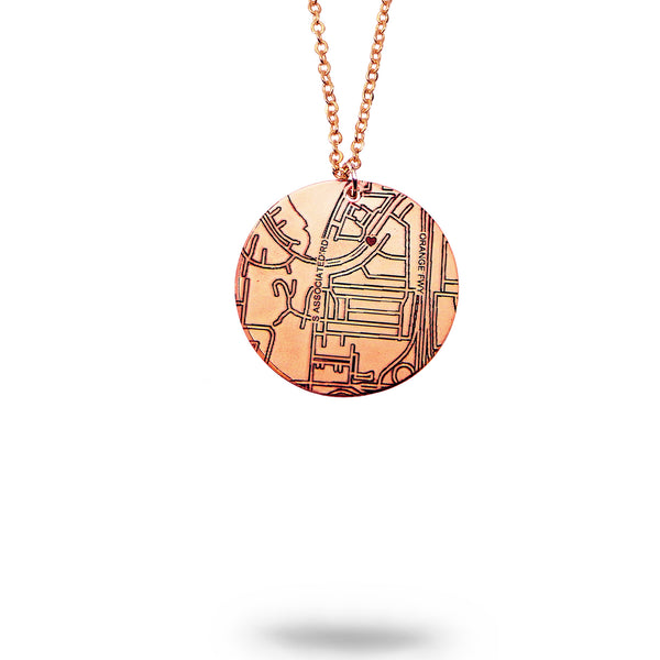 Custom Map Round Necklace in Rose Gold Filled