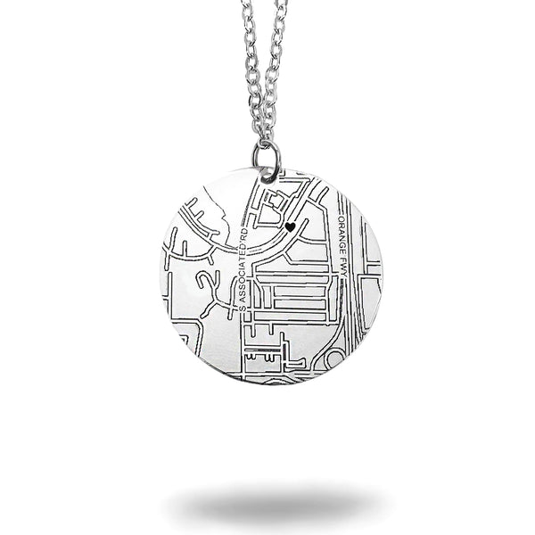 Custom Map Round Necklace in Silver