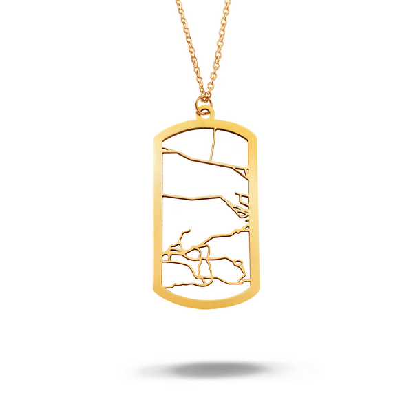 Custom Dog Tag Pendant Cut Out Map in Gold Filled