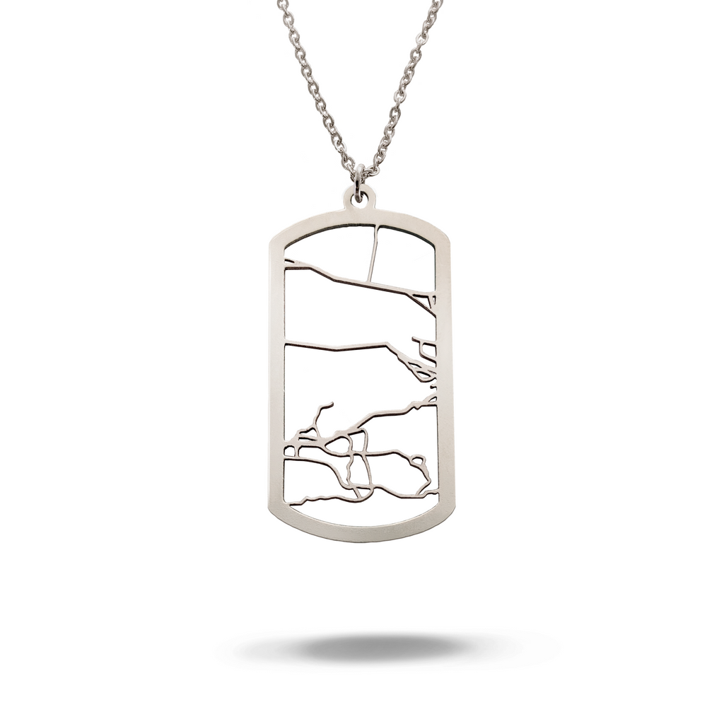 Custom Dog Tag Pendant Cut Out Map in Silver