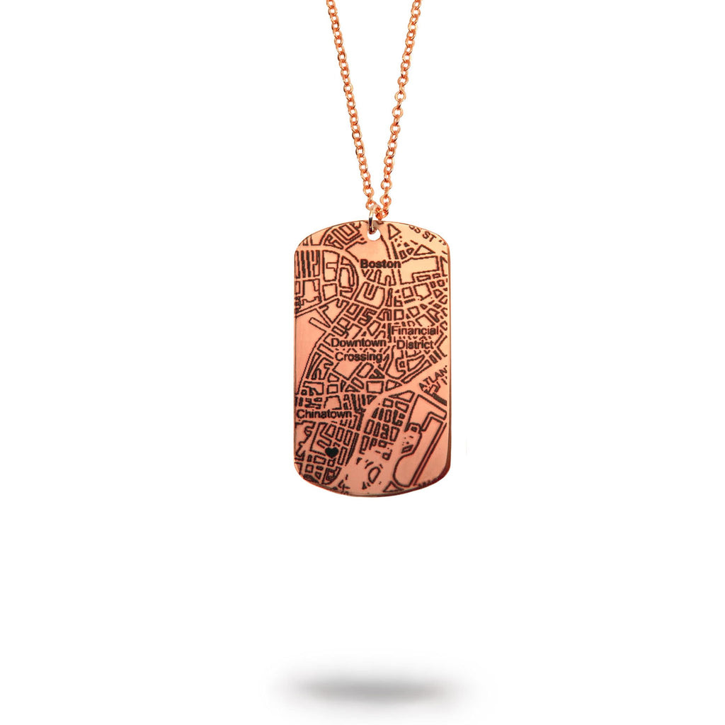 Pasadena, TX City Map Dog Tag Necklace in Rose Gold Filled