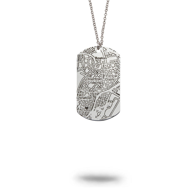 Custom Map Dog Tag Necklace in Stainless Steel