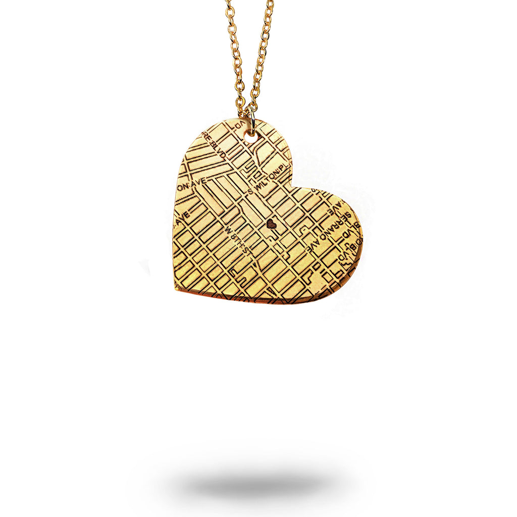 Custom Map Heart Necklace in Gold Filled