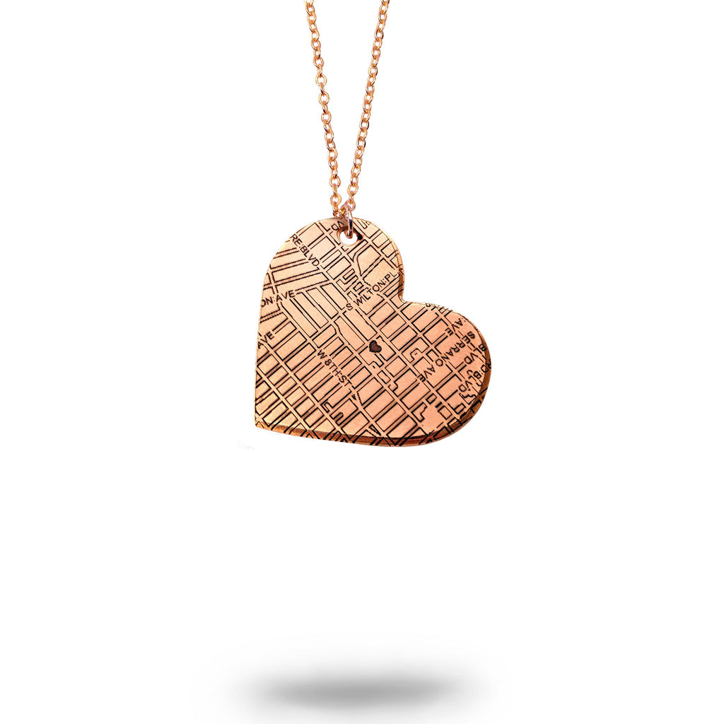 Cary, IL City Map Heart Necklace in Rose Gold Filled