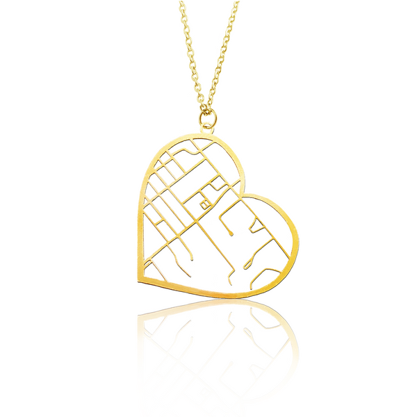 Custom Heart Pendant Cut Out Map in Gold Filled