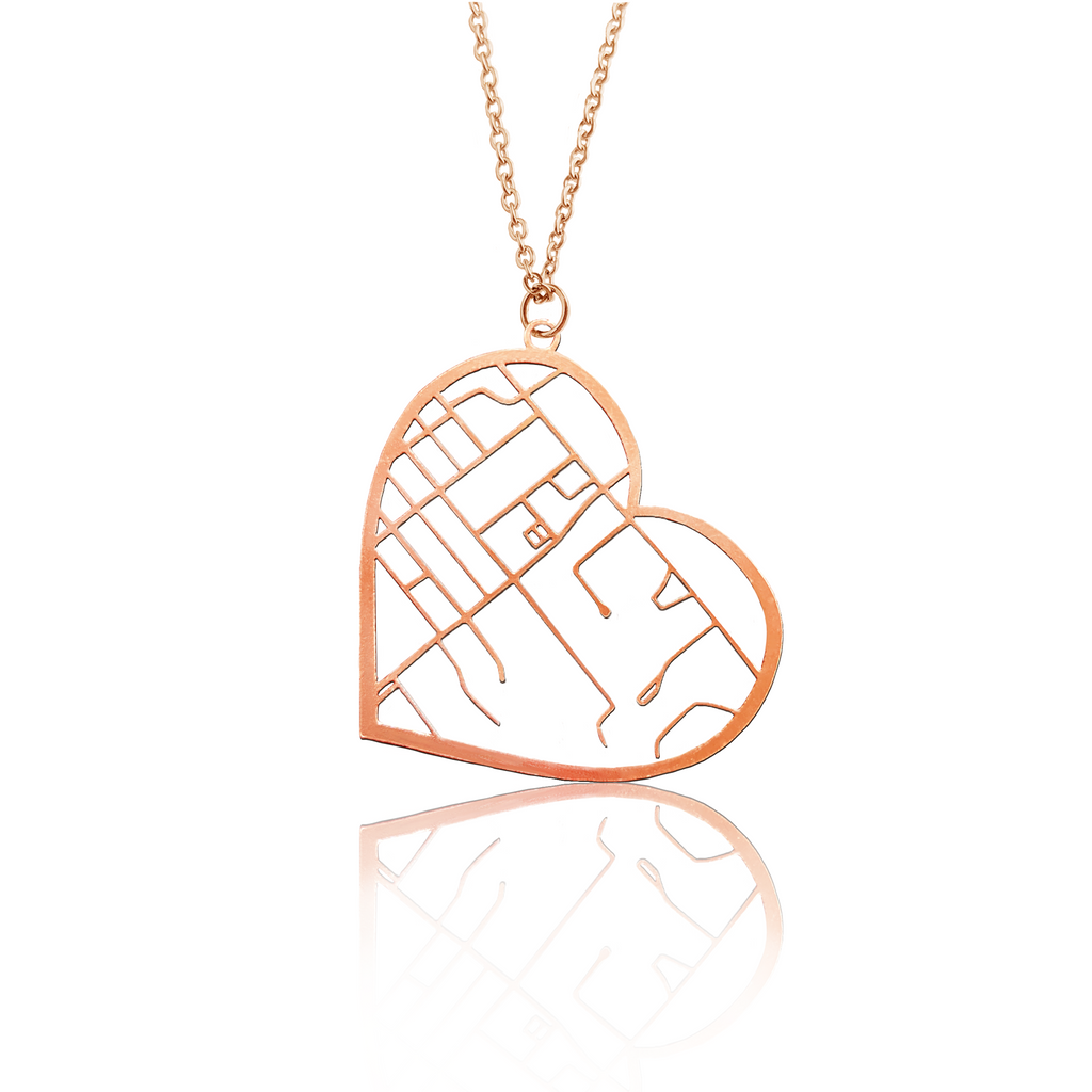 Custom Heart Pendant Cut Out Map in Rose Gold Filled