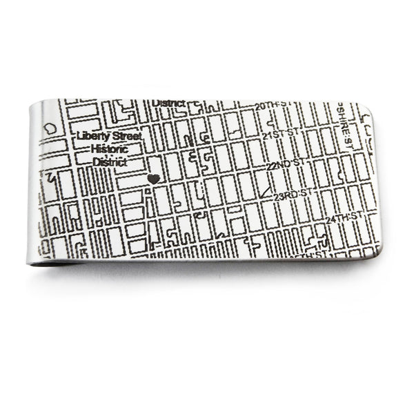 West Chicago, IL City Map Money Clip in Stainless Steel