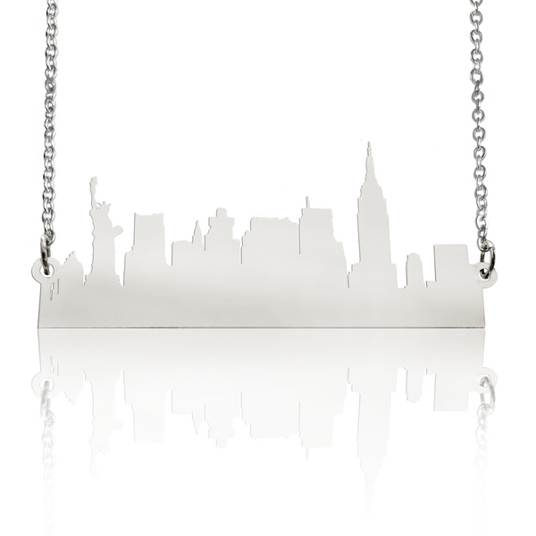 Custom City Skyline Necklace in Sterling Silver