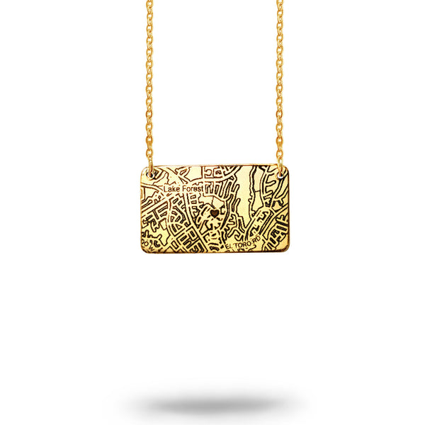 Custom Map Rectangle Necklace in Gold Filled