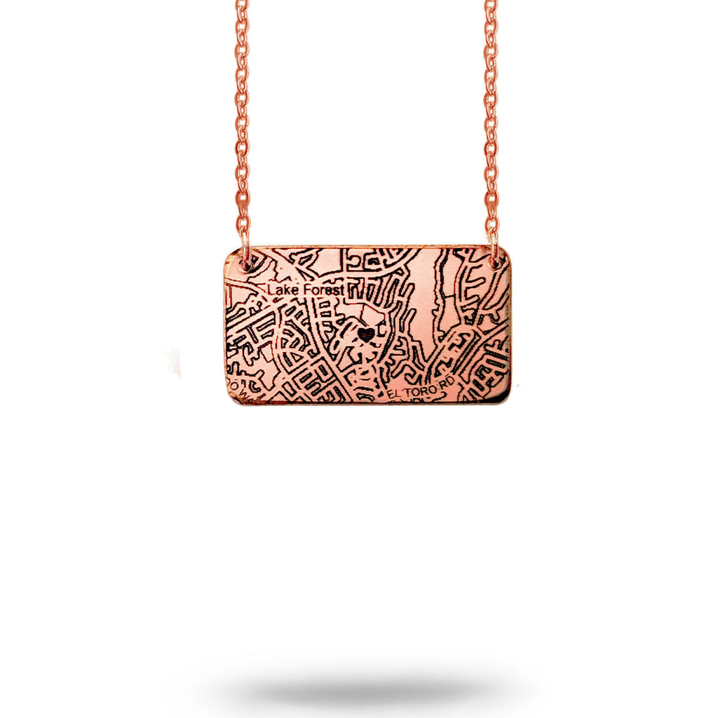 Custom Map Rectangle Necklace in Rose Gold Filled