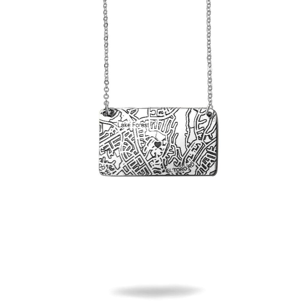 Custom Map Rectangle Necklace in Silver