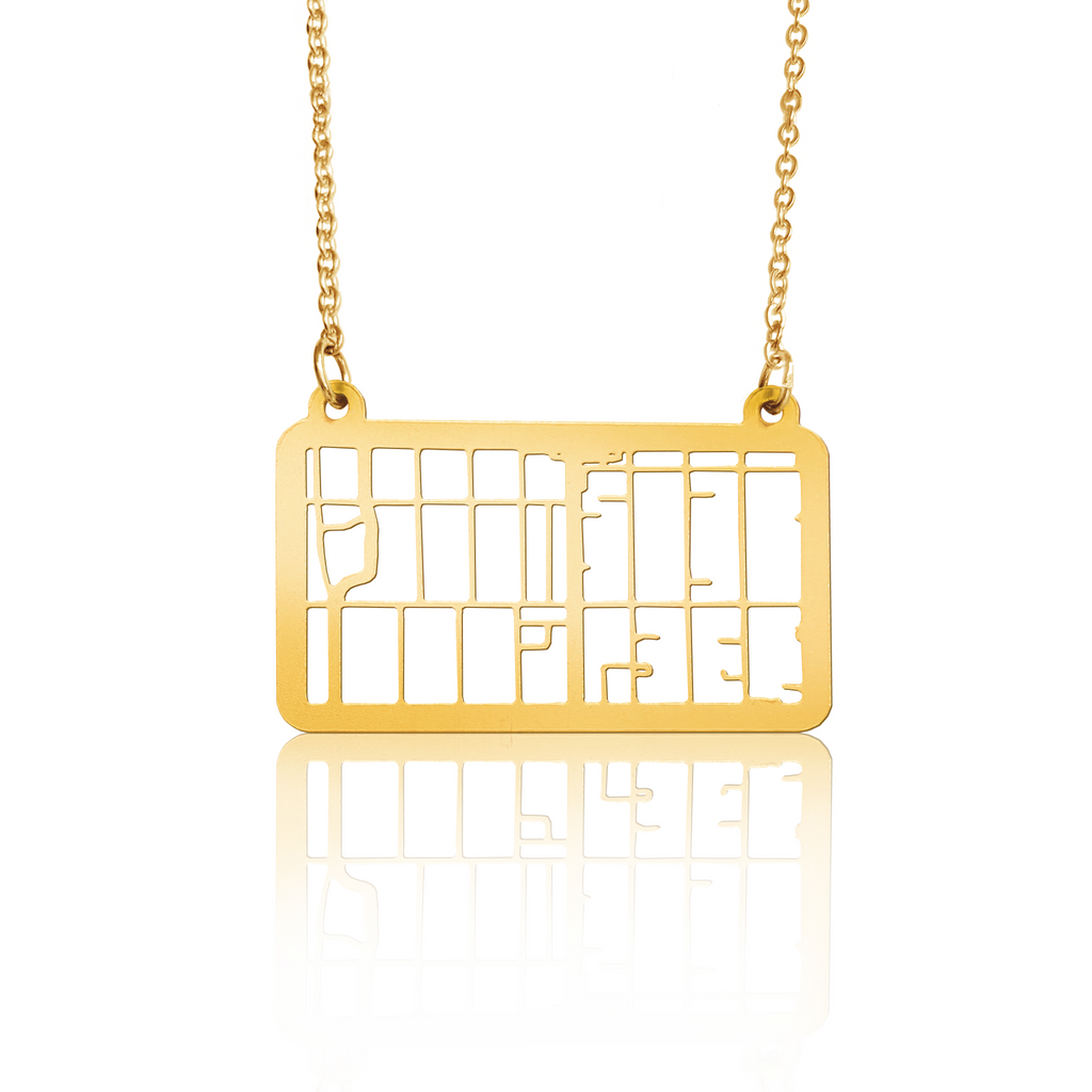 Custom Rectangle Pendant Cut Out Map in Gold Filled