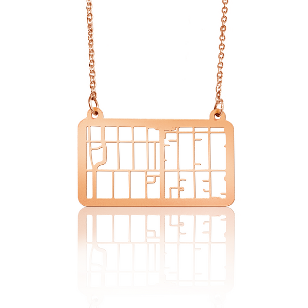 Custom Rectangle Pendant Cut Out Map in Rose Gold Filled