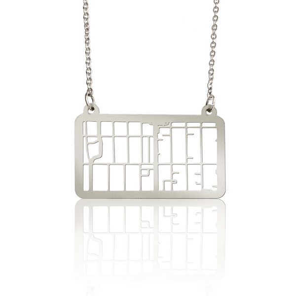 Custom Rectangle Pendant Cut Out Map in Silver