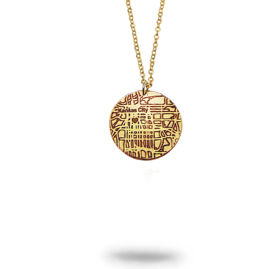 Custom Map Small Round Necklace in Gold Filled