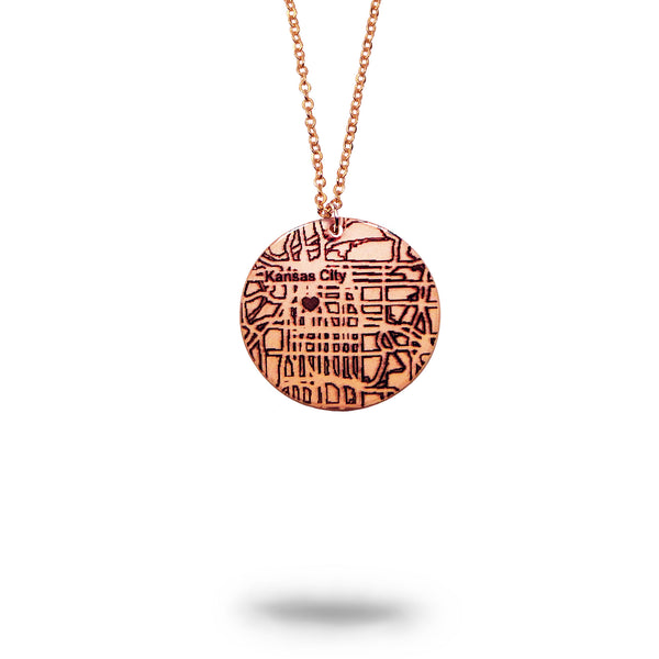 Custom Map Small Round Necklace in Rose Gold Filled