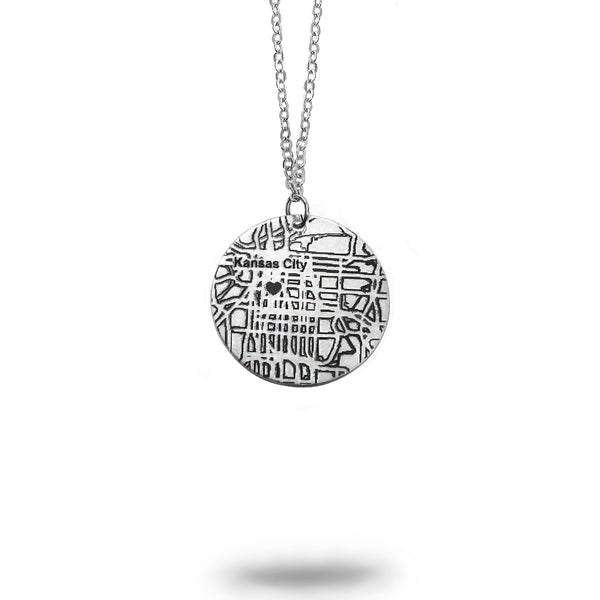 Custom Map Small Round Necklace in Silver